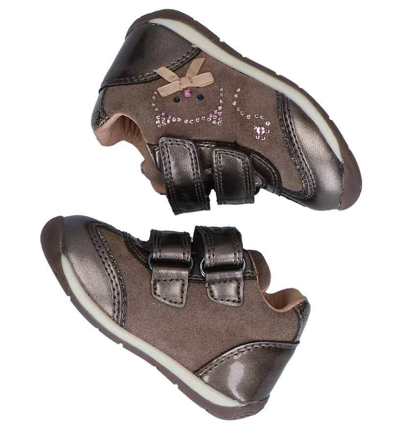 Geox Each Chaussures à velcro en Bronze en daim (278282)