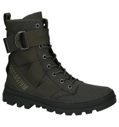 Kaki Stoere Boots met Rits/Veter Palladium in stof (225416)