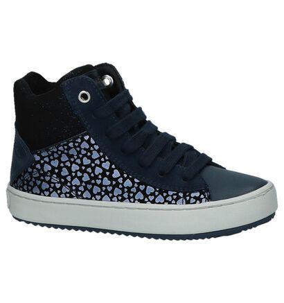 Donkerblauwe Hoge Sneakers met Hartjesprint Geox in daim (223132)
