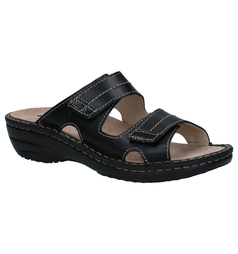 Rohde Nu-pieds à talons en Noir en cuir (250634)