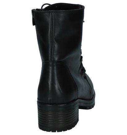 Baboos Zwarte Boots met Rits/Veter in leer (235320)