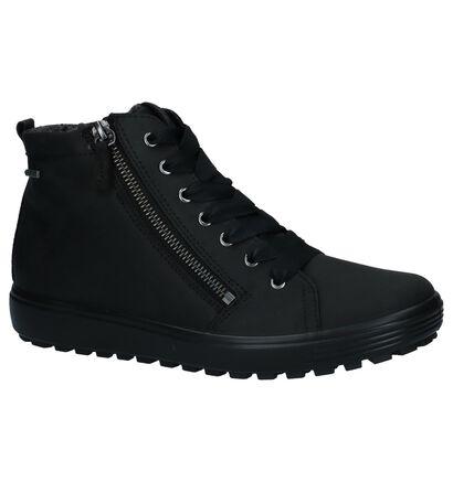 ECCO Soft 7 Tred Zwarte Hoge Schoenen met Rits/Veter in nubuck (235741)