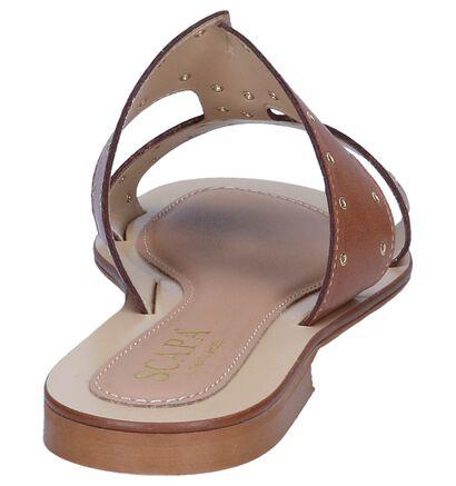 Scapa Nu-pieds plates en Blanc en cuir (246047)