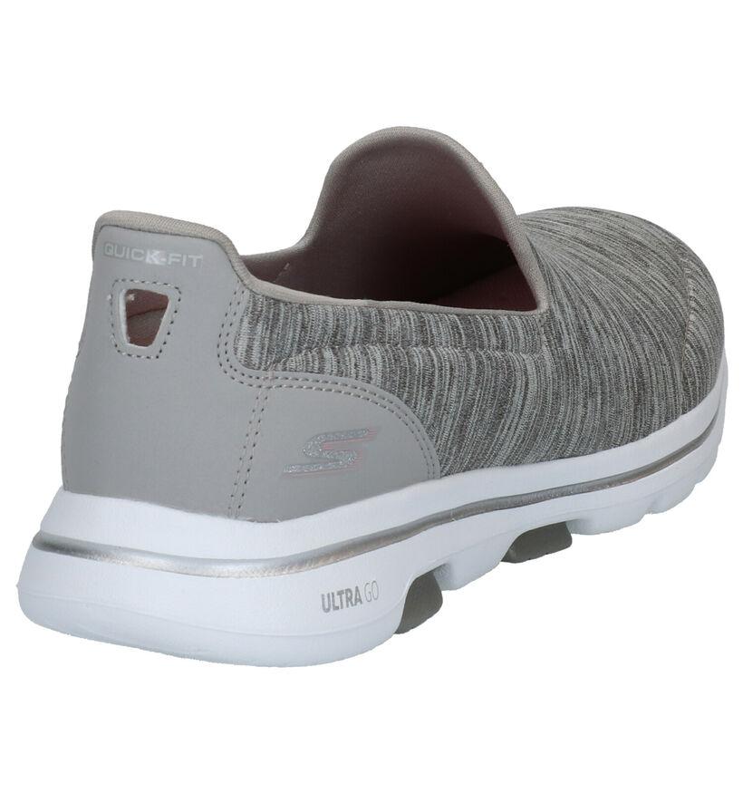Skechers Go Walk 5 Grijze Slip-on Sneakers in stof (266892)
