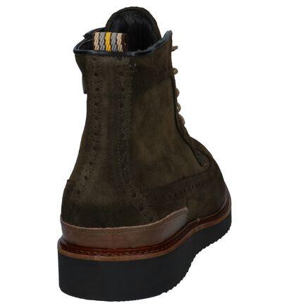 Kaki Geklede Boots met Rits/Veter Via Borgo Sata, Groen, pdp