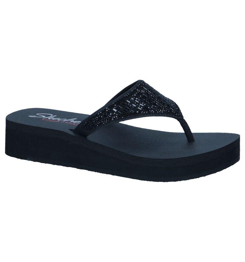 Zwarte Slippers Skechers Yoga Foam in stof (240500)