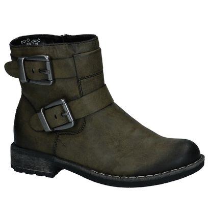 Stoere Kaki Boots met Rits Rieker in imitatieleer (234714)