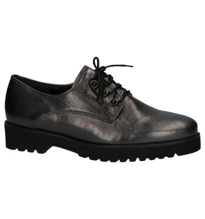 Donkergrijze Metallic Oxford Veterschoenen Gabor Easy Walking in leer (231151)
