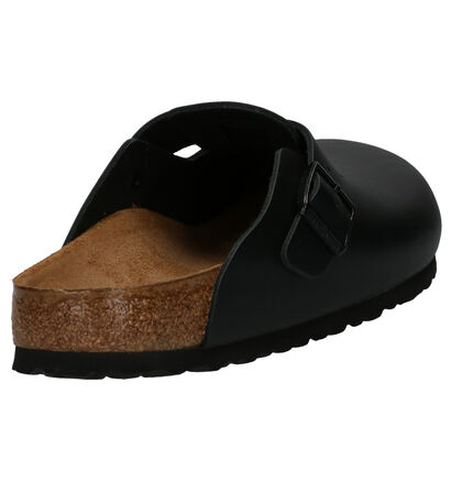 Birkenstock Boston Zwarte Slippers in leer (255784)