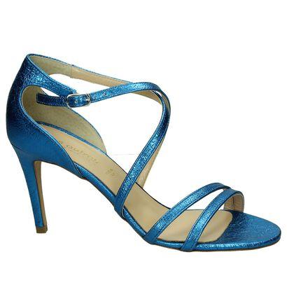 Les Autres Sandalen High Heels Bruin met Slangenprint, Blauw, pdp