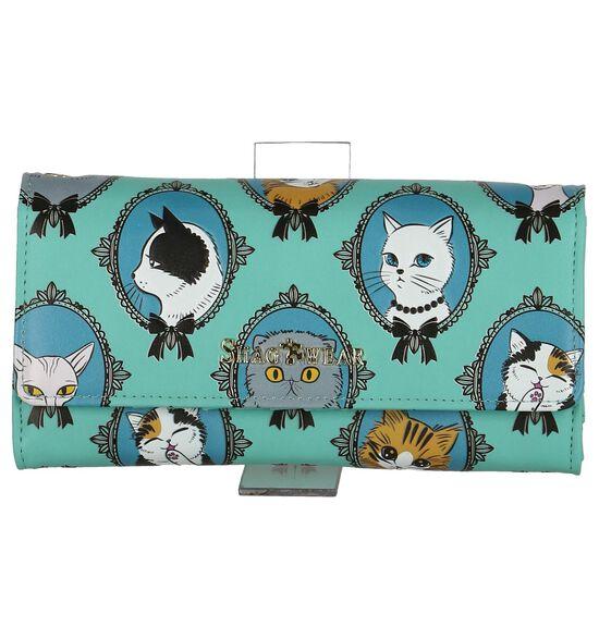 Turquoise Shagwear Cat Cameo Clutch Tasje