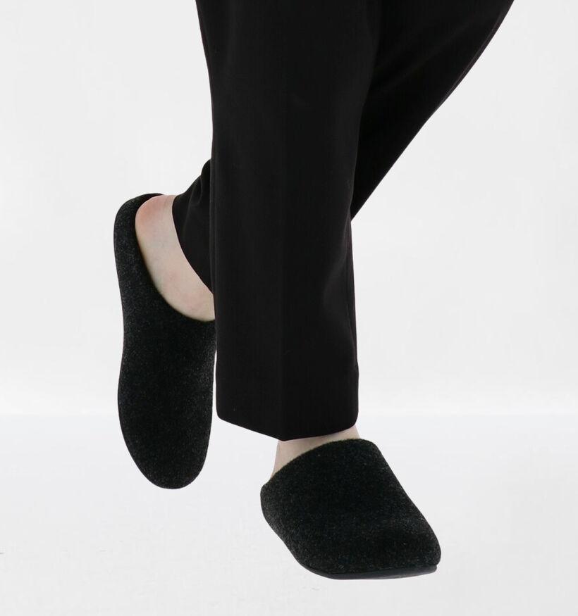 FitFlop Chrissie Felt Pantoufles en Noir en textile (279828)