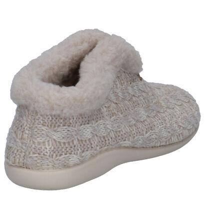 Via Limone Beige Pantoffels in faux fur (255118)