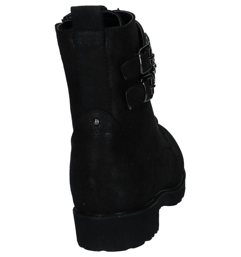 Zwarte Boots met Rits/Veter Youh! in stof (230436)