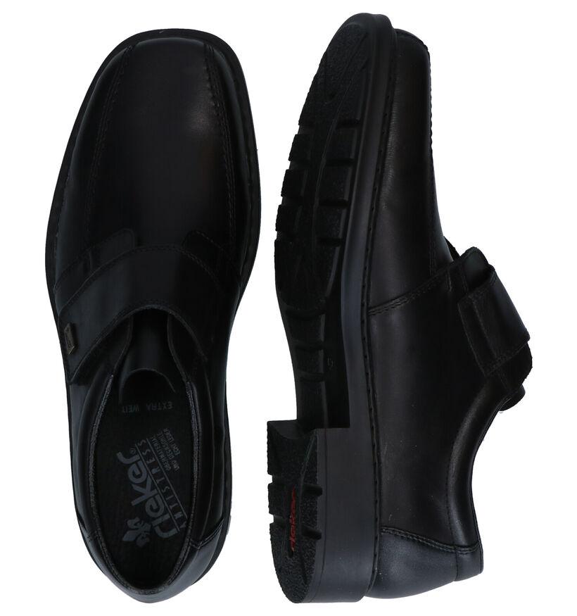 Rieker Zwarte Velcroschoenen in leer (260552)
