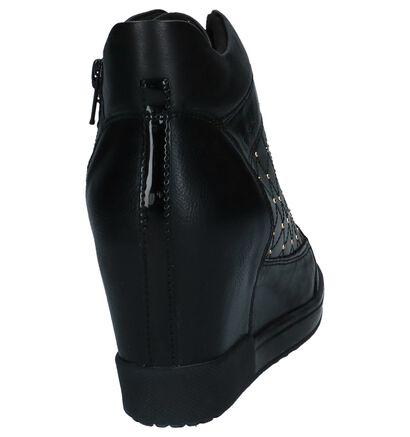 Geox Zwarte Sneakers met Verborgen Sleehak, Zwart, pdp
