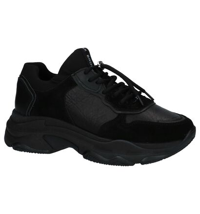 Bronx Zwarte Sneakers met Dikke Zolen, Zwart, pdp
