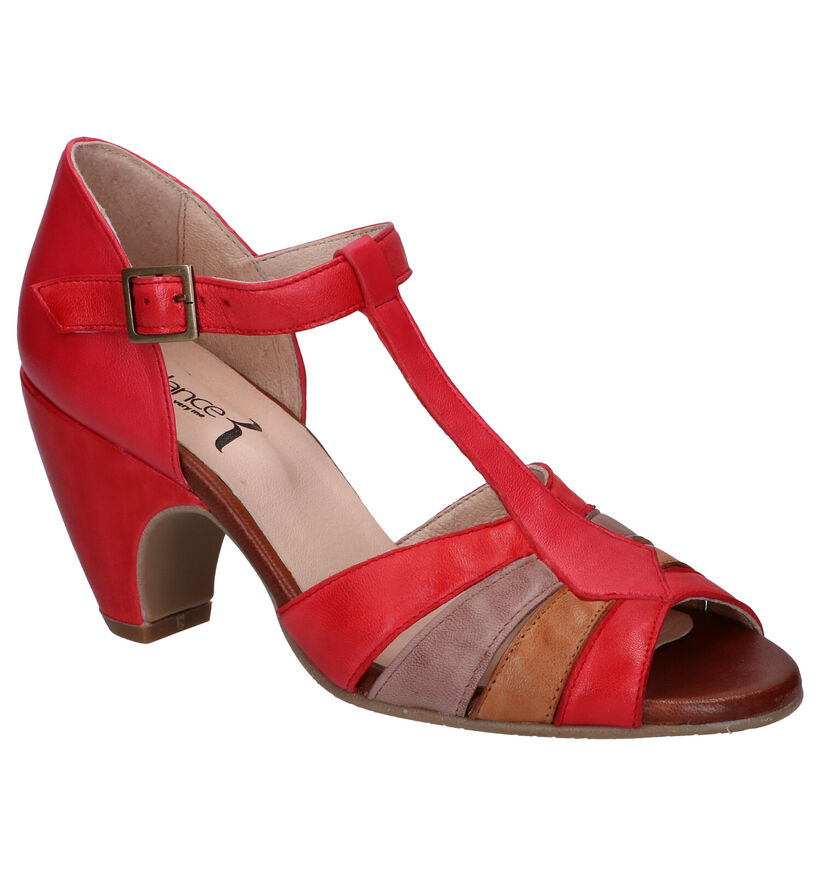 Relance Rode Sandalen in leer (293220)