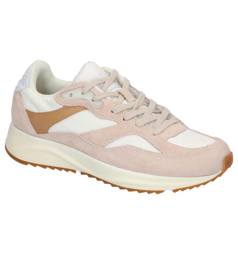 Woden Sophie Canvas Beige Sneakers in leer (266522)