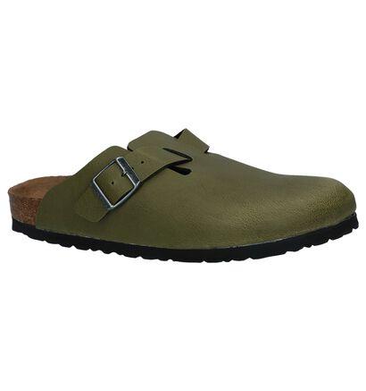 Birkenstock Boston Nu-pieds plates en Vert olive en simili cuir (231554)