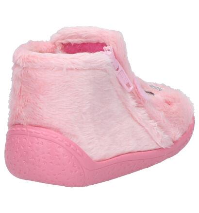 Milo & Mila Roze Babypantoffels in stof (261154)