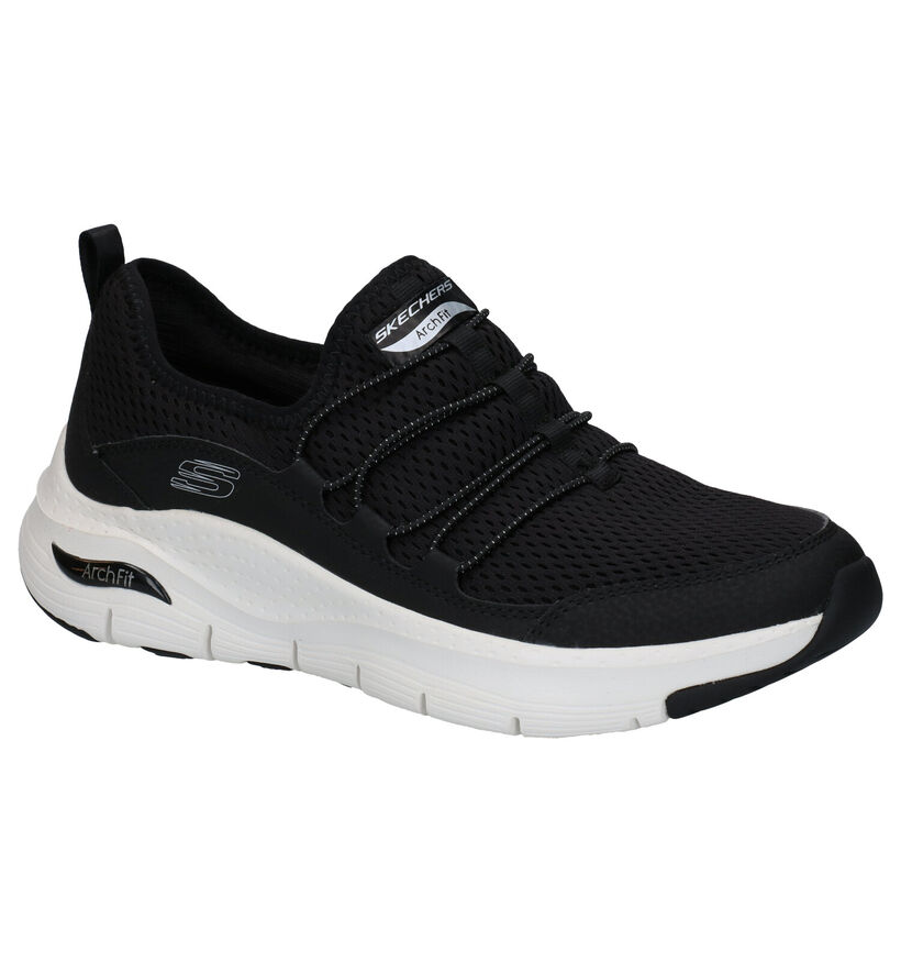 Skechers Arch Fit Lucky Toughts Zwarte Slip-on Sneakers in kunststof (279339)