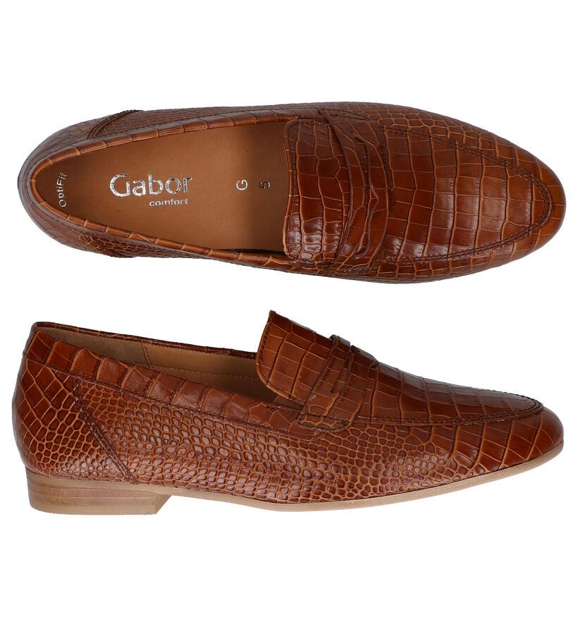 Gabor OptiFit Loafers en Cognac en cuir (282294)