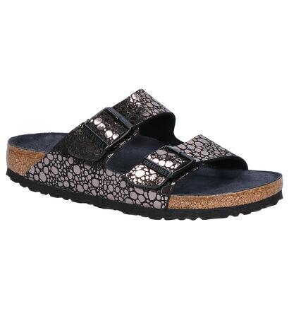 Birkenstock Arizona Nu-pieds plates en Noir en simili cuir (242605)