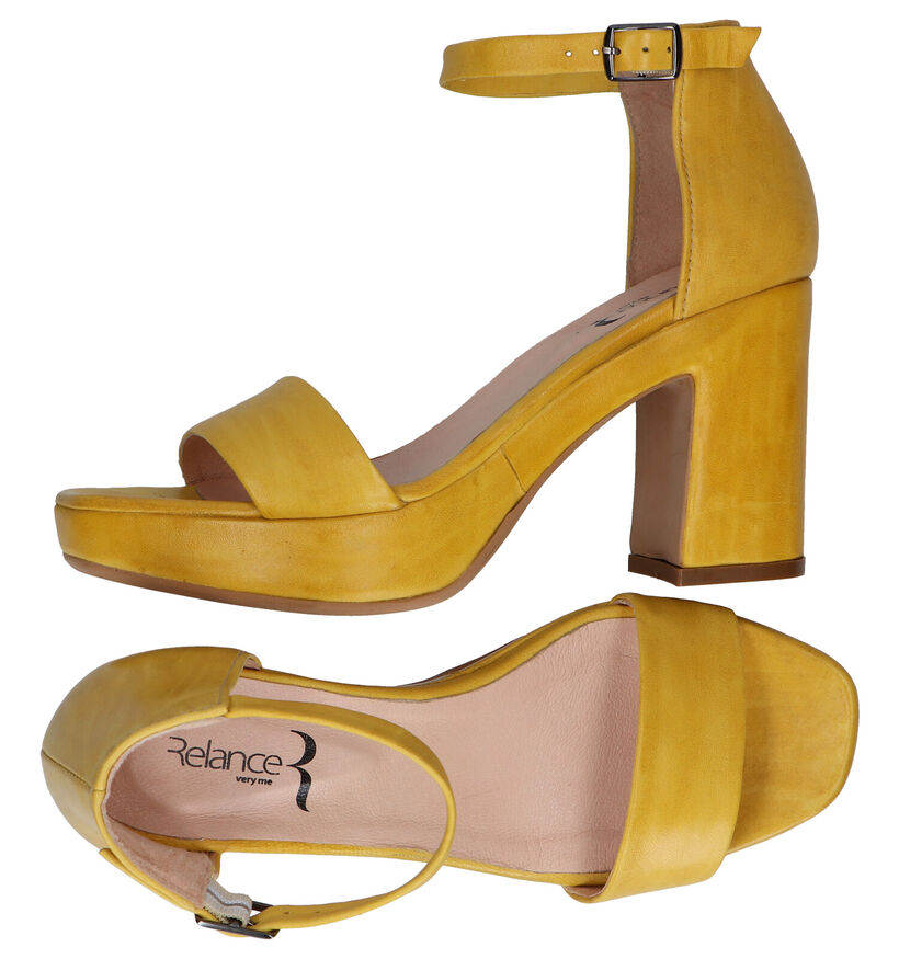 Relance Gele Sandalen in leer (293209)