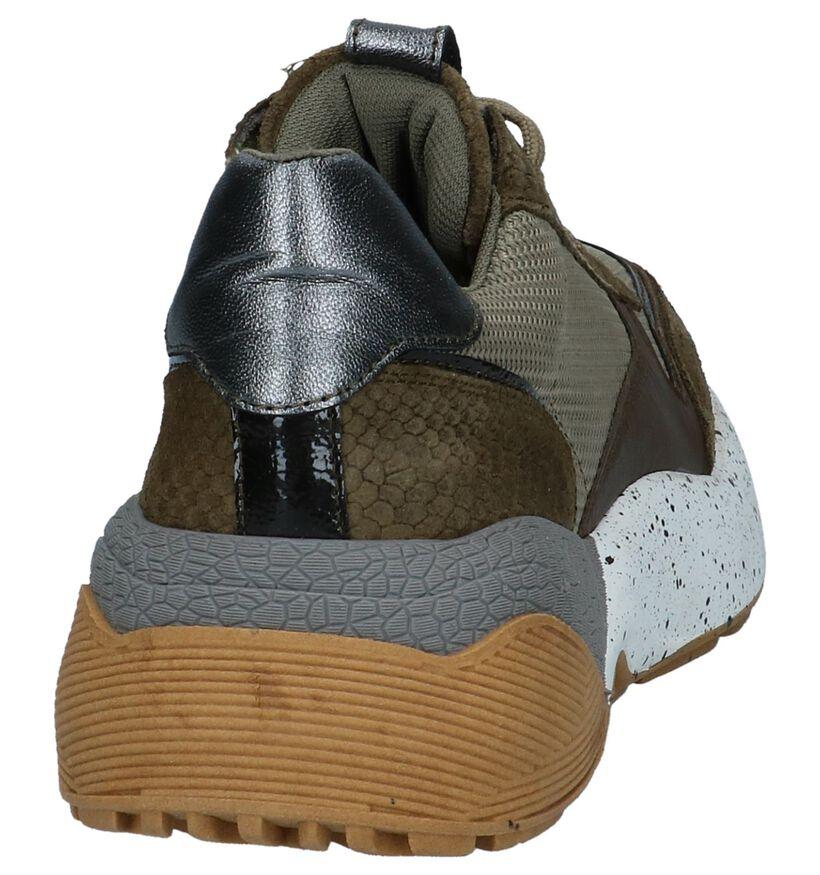 Poelman Kaki Sneakers in leer (239263)