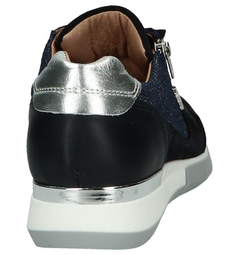 Donkerblauwe Schoen met Rits/Veter Scapa in leer (246117)