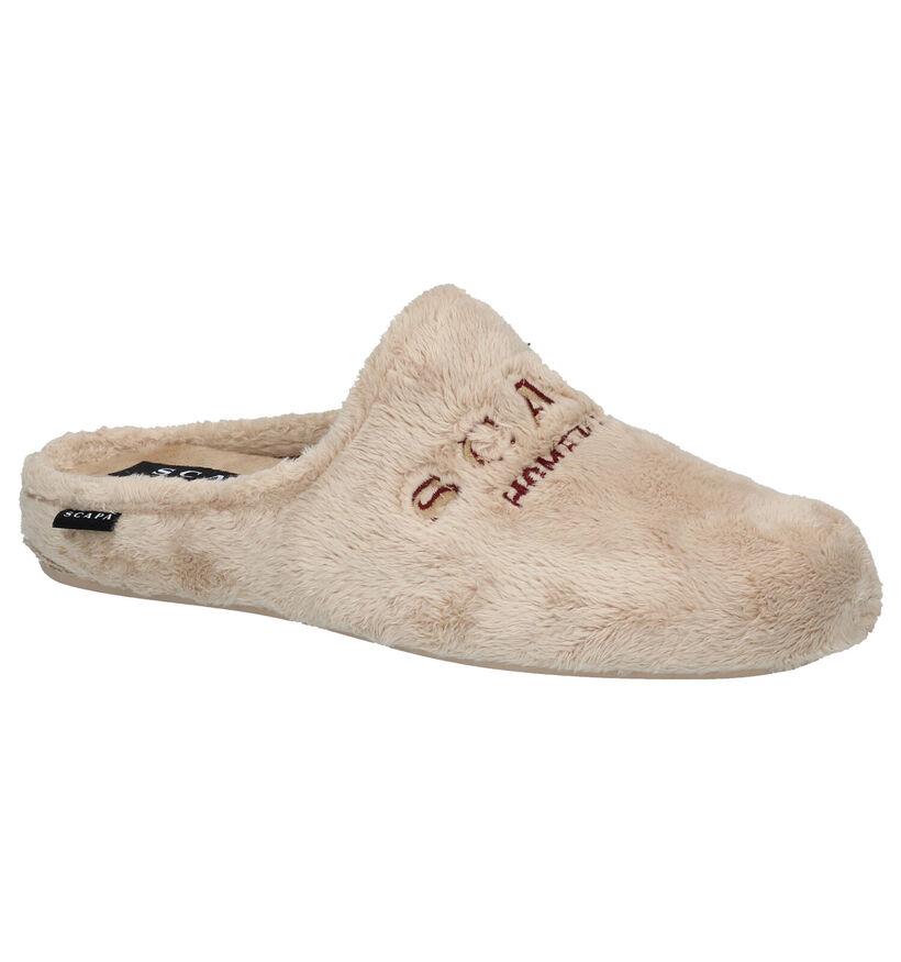 Scapa Beige Pantoffels in stof (281264)
