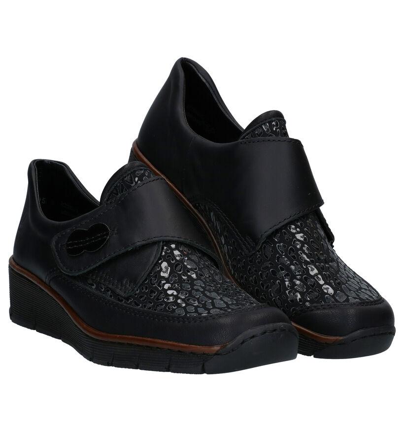 Rieker Zwarte Velcroschoenen in leer (277633)