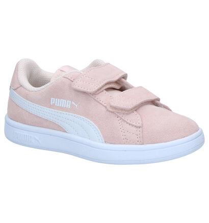Puma Smash Roze Sneakers in daim (265636)