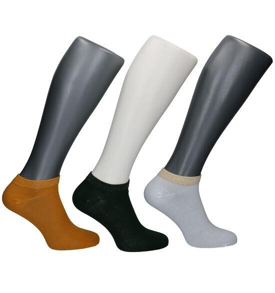 Teckel Socks Groene/Witte/Gele Enkelsokken - 3 Paar