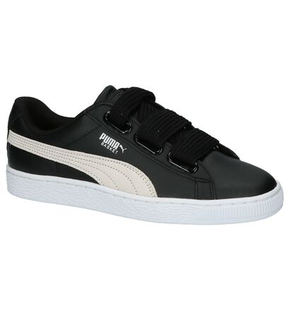 Puma Basket Heart Baskets basses en Noir en cuir (199464)