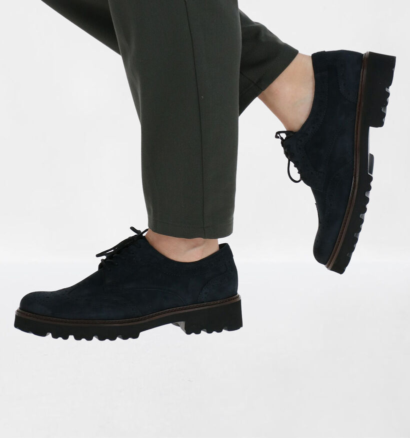Gabor Best Fitting Chaussures à lacets en Bleu en nubuck (283536)