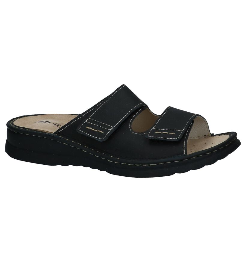 Zwarte Comfortabele Slippers Rohde in leer (250733)