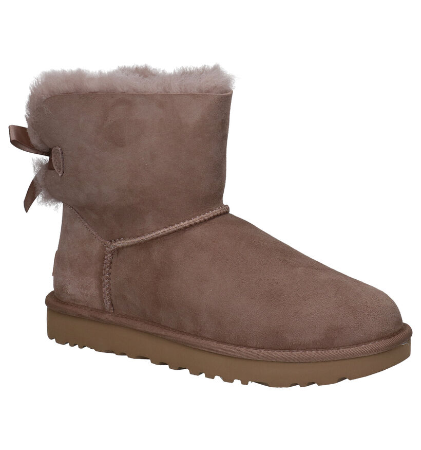 UGG Mini Bailey Bow Taupe Boots in daim (280470)