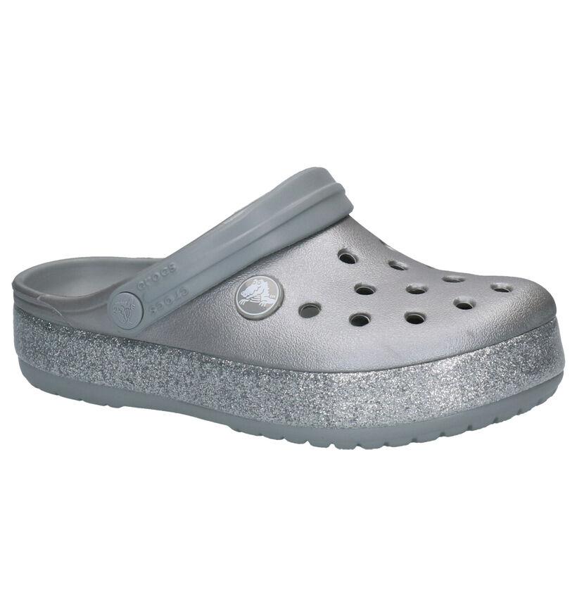 Crocs Crocband Glitter Zilveren Slippers in kunststof (255719)