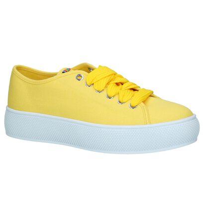 Gele Esprit Sneakers met Dikke Zolen in stof (221853)
