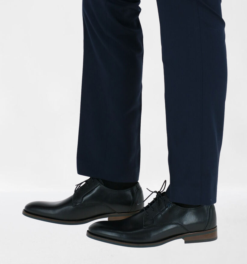 Via Borgo Humerto Chaussures Habillées en Noir en cuir (282092)