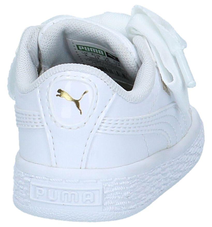Puma Basket Heart Patent Witte Sneakers in kunstleer (209895)