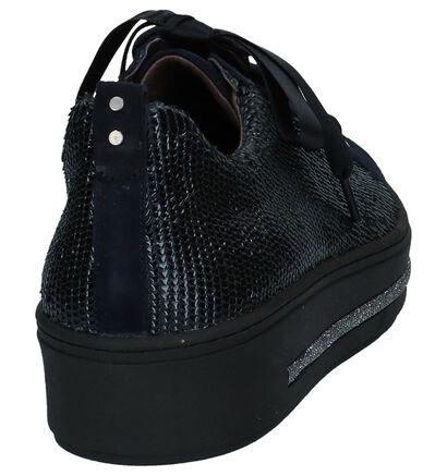 Donkerblauwe Geklede Sneakers Softwaves in leer (232670)
