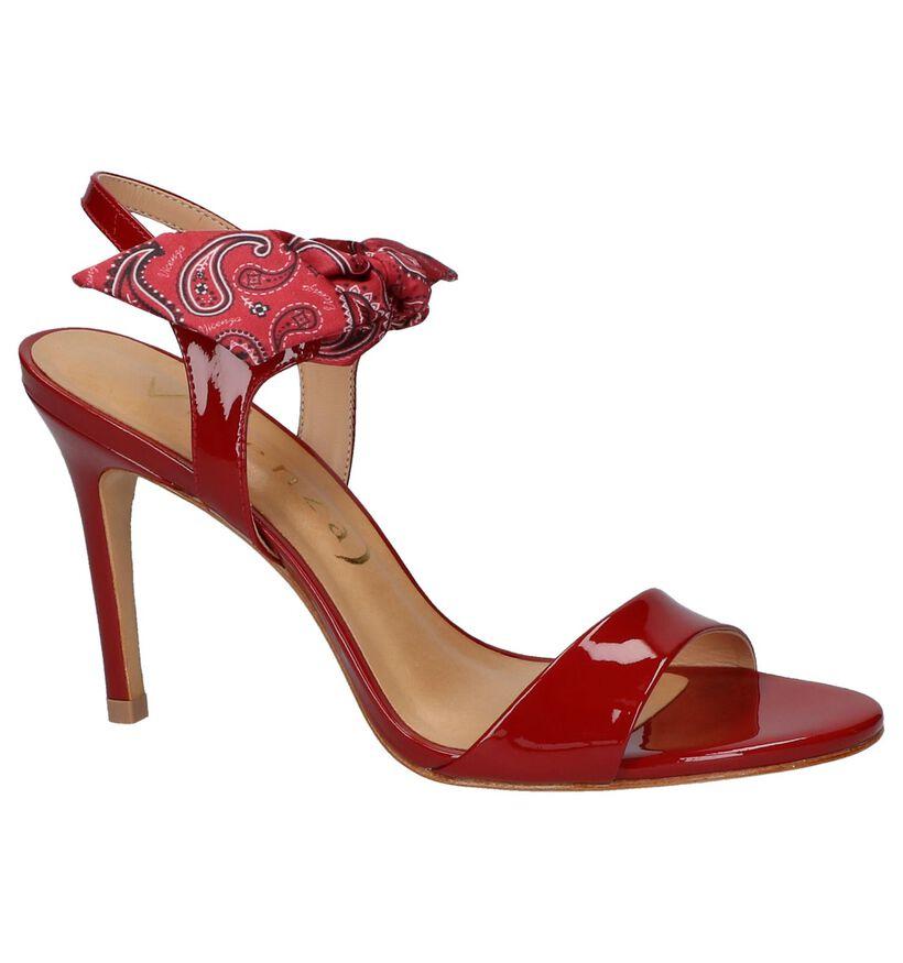 Vicenza Sandales à talons en Rouge en textile (220276)