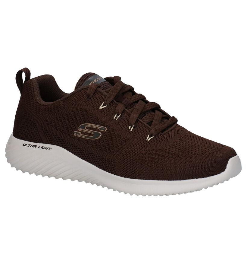 Skechers Bounder Rinstet Bruine Sneakers in stof (279359)