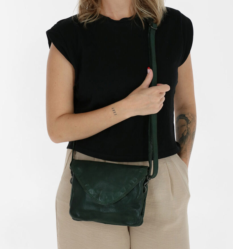 Bear Design Zwarte Crossbody Tas in leer (283601)