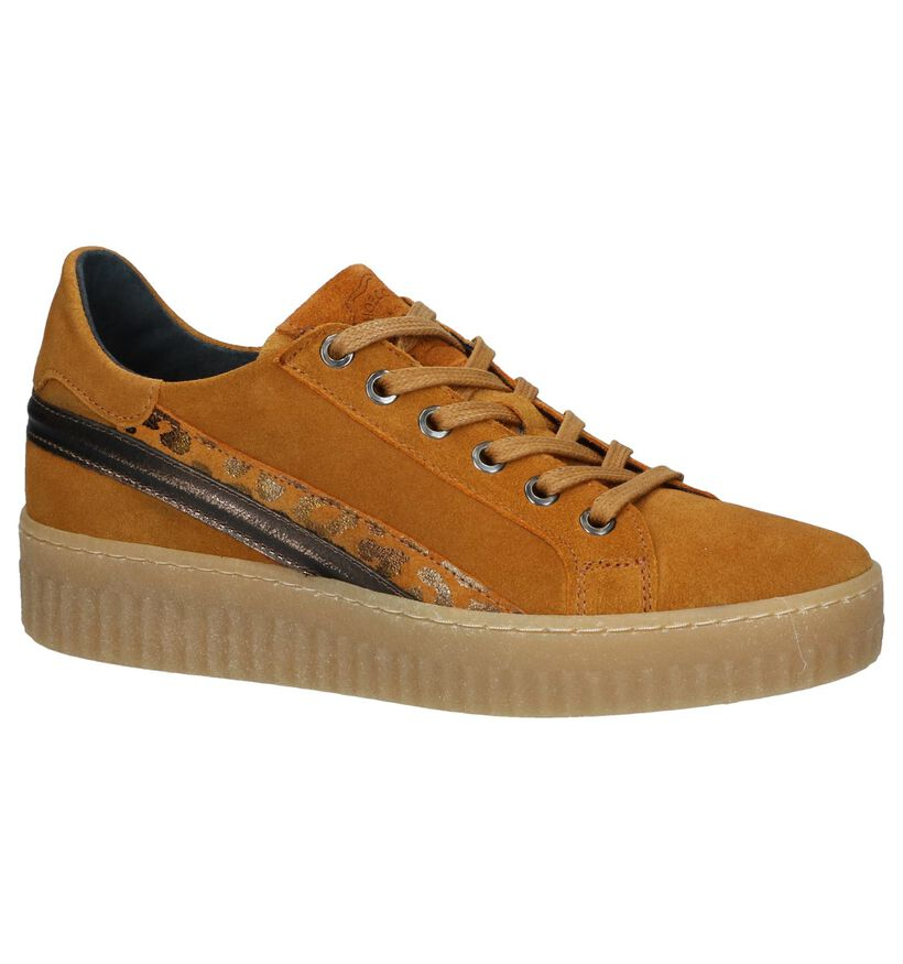 Shoecolate Baskets basses en Jaune ocre en nubuck (247467)