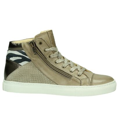 Hoge Sneaker Hampton Bays Taupe met Slangenprint, Taupe, pdp