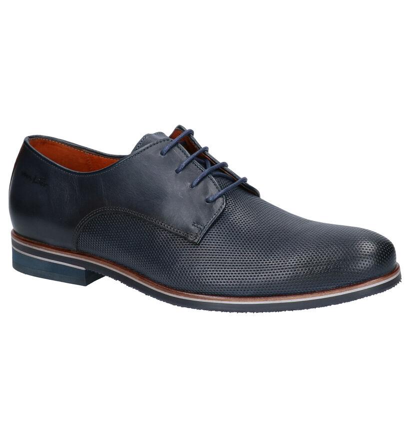 Van Lier Chaussures habillées en Bleu foncé en cuir (265959)